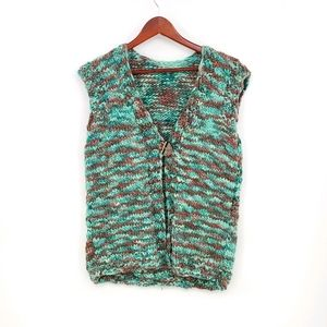 Hand-knitted One Front Button Vest
